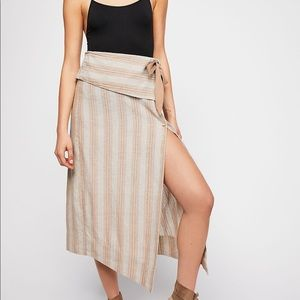 Free People Striped Wrap Look Skirt
